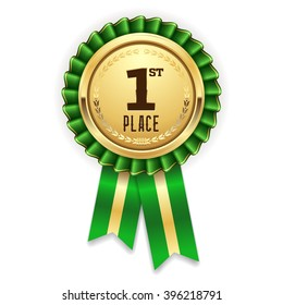 Gold 1st place rosette, badge with green ribbon on white background