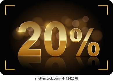 Gold 20 percent. Vector image.