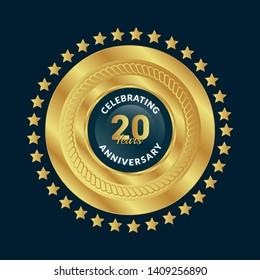 gold 20 years anniversary badge,label,sticker
