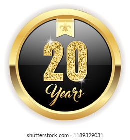 Gold 20 years, anniversary button with gold letters