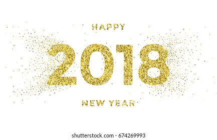Gold 2018 Happy New Year vector background with particular snowflakes splatter and golden glitter numbers for xmas holiday greeting poster or calendar.