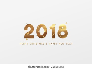 Gold 2018 vector Happy New Year and Merry Christmas greeting card.