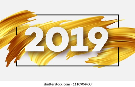 Gold 2019 Happy New Year greeting card. Vector illustration EPS10