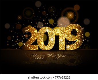 Gold 2019 happy new year on the background