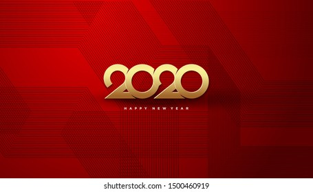 Gold 2020 happy new year, with black stripes as background. designs can be used for background banner templates and so on.