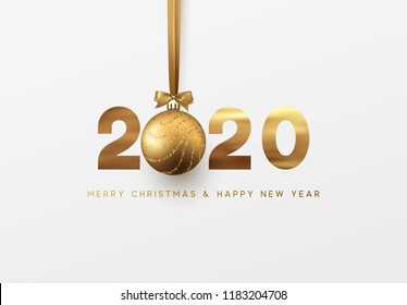 Gold 2020 vector Happy New Year and Merry Christmas greeting card.
