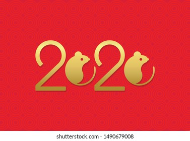 Gold 2020 vision with rat icons. Lineart design mouse, mice, rat icons. 2020 new year. seasonal holidays flyers, greetings and invitations cards and christmas themed congratulations and banners.