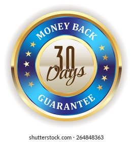 Gold 30 days money back badge with blue metallic border