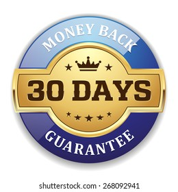 Gold 30 days money back badge with blue border