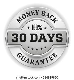 Gold 30 days money back badge on white background