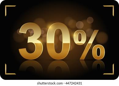 Gold 30 percent. Vector image.
