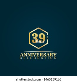 gold 39 years anniversary concept. emblem, label, badge,sticker, logo. Designed for celebration or anniversary
