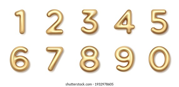 Gold 3d balloons numbers vector icon. Luxury metallic math typeface with shiny bright highlights. Precious metal for elegant decoration in marketing jewel design and business presentations.
