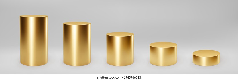 Gold 3d cylinder set front view and levels with perspective isolated on grey background. Cylinder pillar, golden pipe, museum stages, pedestals or product podium. 3d basic geometric shapes vector