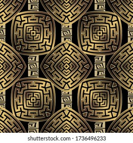 Gold 3d geometric greek vector seamless pattern. Textured ornamental abstract background. Greek key meander ornaments. Beautiful ornate design. Modern repeat surface backdrop. Golden rhombus, squares.