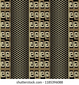 Gold 3d greek key meander vector seamless pattern. Grid lattice ornamental textured background. Vertical meanders borders. Lace texture. Geometric modern ornaments. Surface  texture. 3d wallpaper