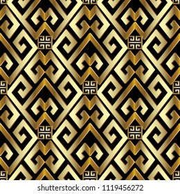 Gold 3d greek seamless pattern. Vector abstract geometric textured background. Geometrical shapes, rhombus, squares. Gold greek key, meanders ornament. Surface  ornamental ornate texture with shadows
