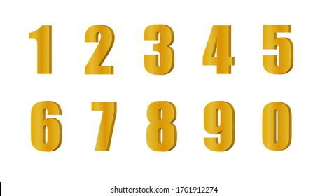 Gold 3d numbers. Symbol set. Vector illustration on white isolated background.