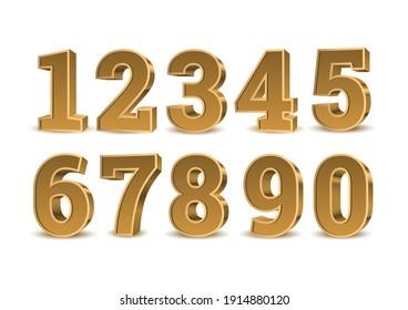 Gold-3D-Zahlen. Symbolsatz. Vektorgrafik