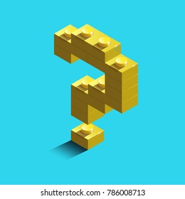 Gold 3d question mark sign icon from constructor bricks., vector illustration. Didgtal style. Colorful character of alphabet sign font.  lego sign from blocks.