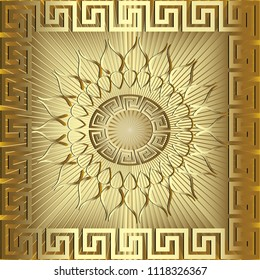 Gold 3d sunny greek vector panel  pattern. Textured radial striped golden background. Greek key mandala. Meander abstract ornament, square frame. Decorative floral design with gold sun, flowers, lines