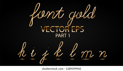 Gold 3D Typeset with Rounded Shapes. Font Set of Painted Letters. Matte Liquid Colors 80s ans 90s style. Gold metal Effect. Tube Alphabet. ABC for DJ Poster, Sale Banner, Signboard, Advertising.