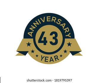 Gold 43 years anniversary badge with banner image, Anniversary logo with golden isolated on white background