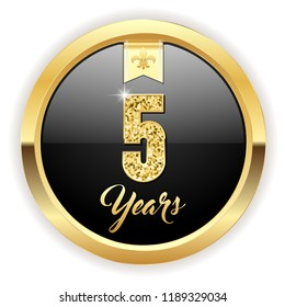 Gold 5 years, anniversary button with gold letters