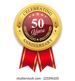 Gold 50 years anniversary badge with red ribbon on white background