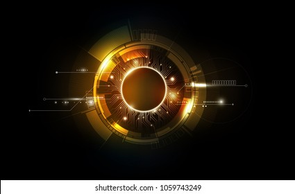 gold abstract futuristic electronic circuit technology background concept, vector illustration
