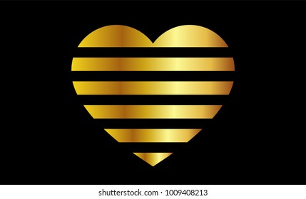 Gold Abstract Heart, Black Background