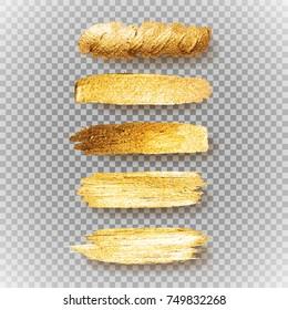 Gold Acrylic Texture Paint Stain vector Illustration. Set of shining brush stroke for banner poster flyer design.
