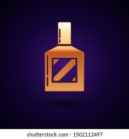 Gold Aftershave icon isolated on dark blue background. Cologne spray icon. Male perfume bottle.  Vector Illustration