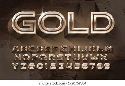Gold alphabet font. 3d golden letters and numbers. Abstract background. Stock vector typescript for your typography design.