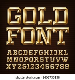 Gold alphabet font. 3d gold letters and numbers with bevel. Stock vector typescript for your typography design.