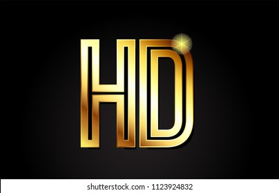 gold alphabet letter hd h d logo combination design suitable for a company or business