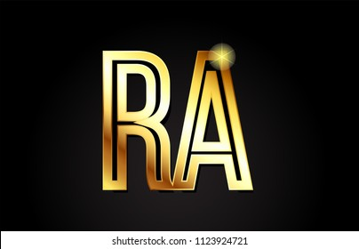 gold alphabet letter ra r a logo combination design suitable for a company or business