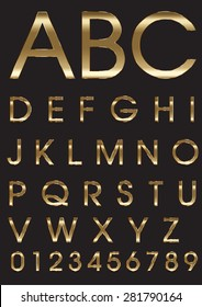 Gold Alphabet and Numbers. Stock Vector
