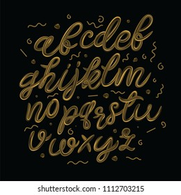 Gold alphabetic fonts a on a black background. Golden 3d letters. Liquid metal typography. Vector illustration