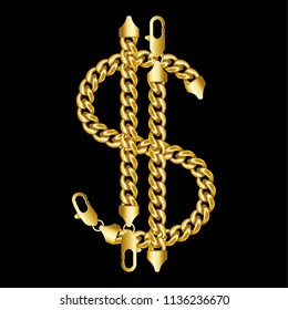 Gold american dollar money sign made of shiny thick golden chains with a lobster claw clasp lock. Realistic vector illustration isolated on a black background.