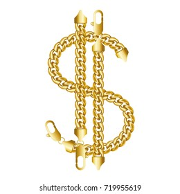 Gold american dollar money sign made of shiny thick golden chains with a lobster claw clasp lock. Realistic vector illustration isolated on a white background.