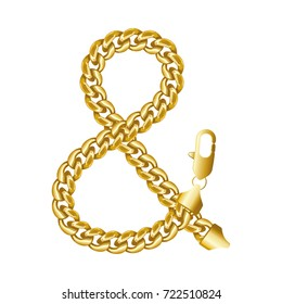 """Gold ampersand or """"&"""" (and or short and) sign made of shiny thick golden chain with a lobster claw clasp lock. Realistic vector detailed illustration isolated on a white background."""