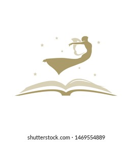 gold angel and open book, vector logo icon