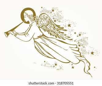 Gold Angel with the trumpet flying in the clouds - vector illustration