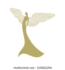 gold angel, vector logo icon