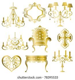 Gold antique design element set. Illustration vector