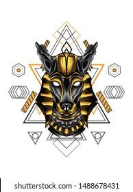 Gold Anubis Dog Sacred Geometry