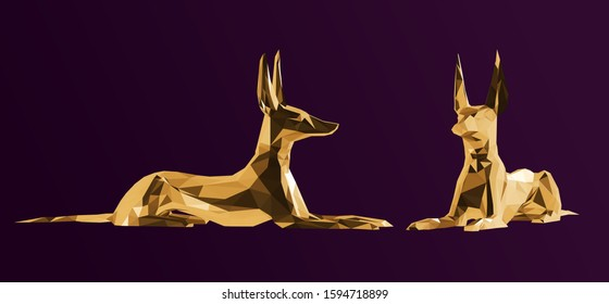 Gold Anubis. Shiny Metallic Set of Golden Egyptian Gods on Purple Background. Low Poly Vector 3D Rendering