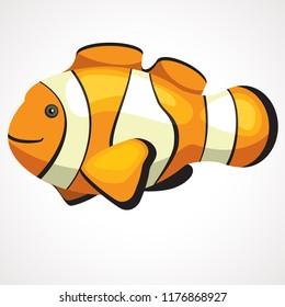 Gold aquarium cute clown fish cartoon. Vector drawing