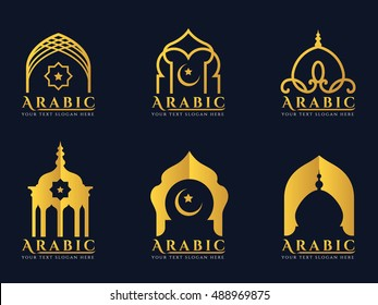 Gold Arabic windows and doors architecture logo vector set design